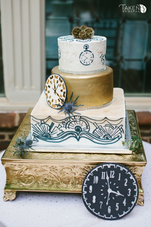 Doctor Who Wedding | Art Deco Wedding |  Gold Wedding Cake | Taken by Sarah Photography
