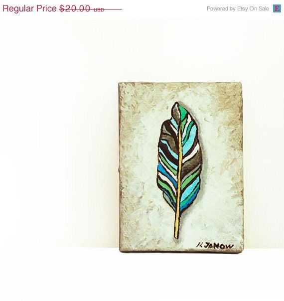 ACEO Feather Art Painting  Original Acrylic by hjmArtGallery, $16.00