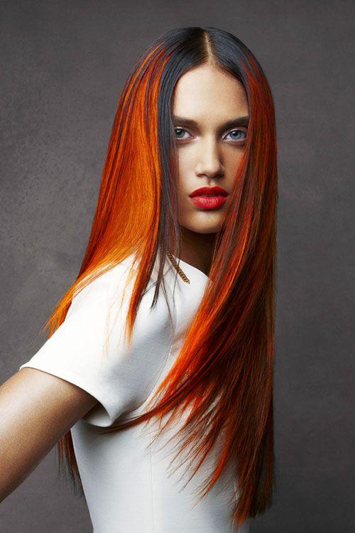 Long sleek hairstyle with Orange and black hair dye
