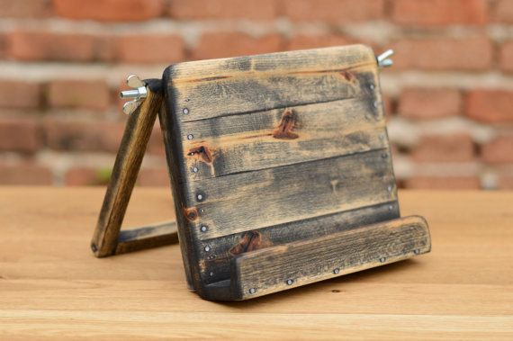 Wooden iPad stand iPad Holder Holz iPad Ständer by WoodRestart