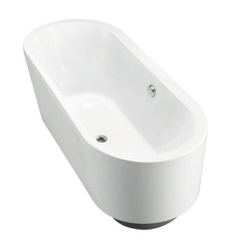 Evok Oval Freestanding Bath  Features:    Freestanding acrylic plain bath (fully reinforced)  Easy installation using drop in base support system and adjustable feet