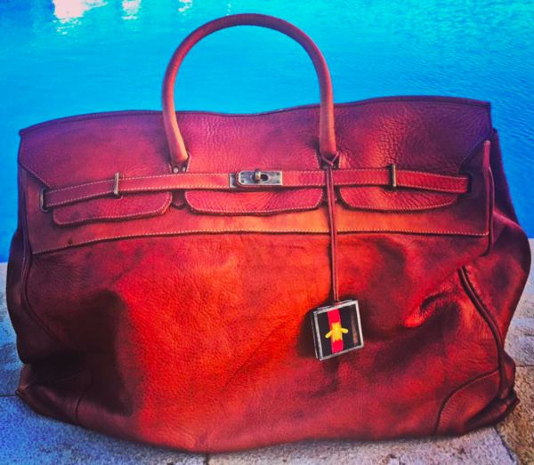Distressed Leather Bag With Vintage Look