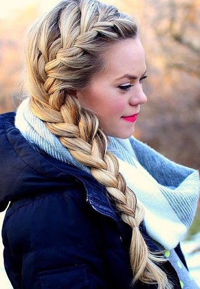 Beautiful thick french braid for long hair