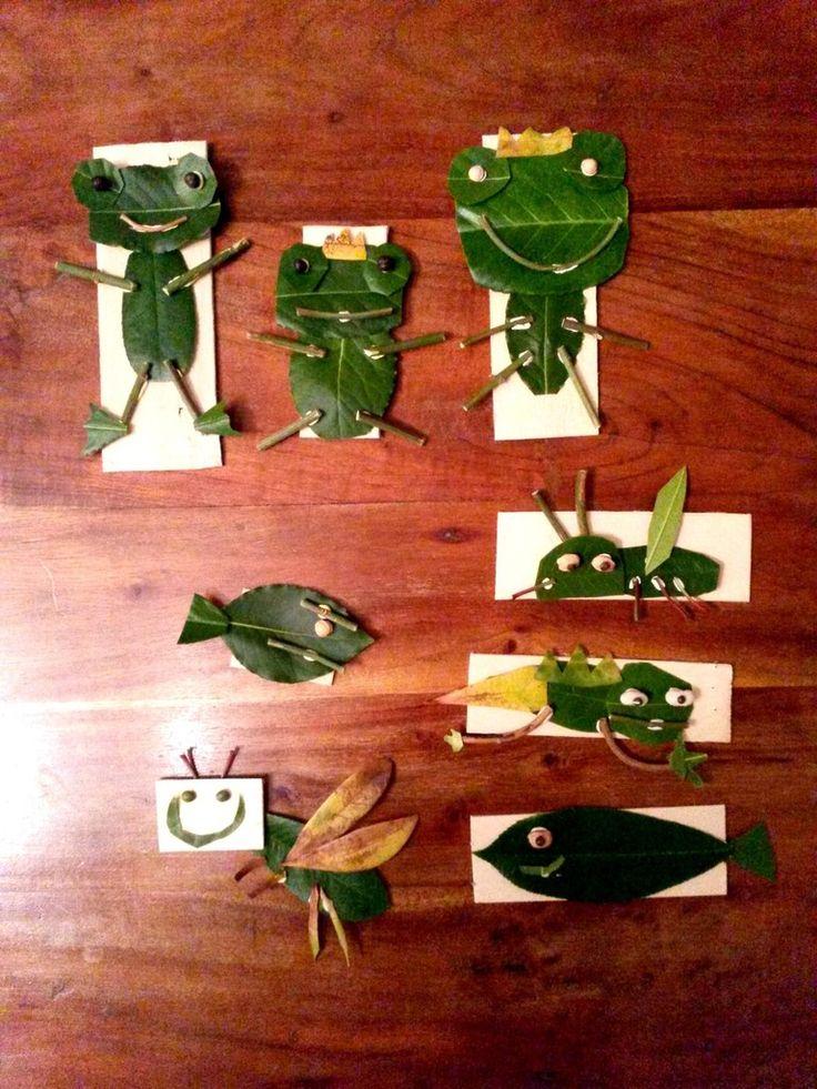 Les enfants ont créé des petites bêtes sur un support de planchette découpée dans une cagette de fruits, à partir de feuilles d'arbres à découper aux ciseaux, de petites branches (une barquette pour les sourires, une pour les pattes) et de graines pour les yeux (pois cassés, haricots, noyaux de cerise, lentilles...). Les enfants ont fixé eux-mêmes les éléments avec de la patafix.