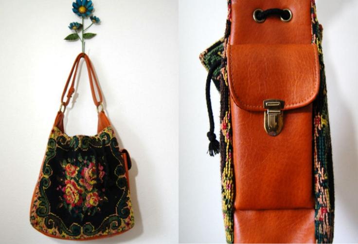 Vintage 1970s purse / floral tapestry handbag / Secret Garden tote. Mine!!!