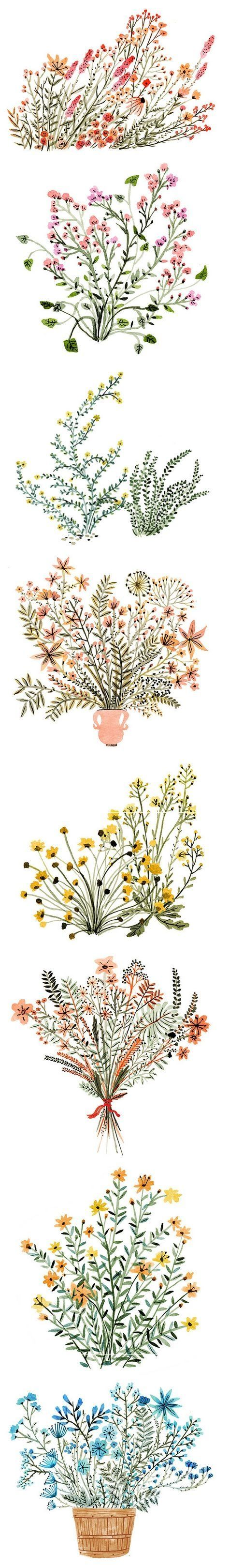 Dainty watercolor flowers, by Vikki Chu #art #journal Floral illustration design