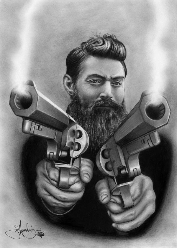 Ned Kelly design drawing by WhizzieWhizzer
