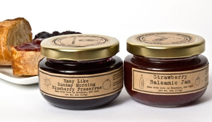 Description :    Since 2009, Laena McCarthy has been making artisan jams, jellies, chutneys, and preserves in Brooklyn. Made in small batches and sourcing local fruit and herbs, these jams are equally stunning on your cheese plate with a nutty alpine cheese or on your toasted bagel in the morning.    You'll receive on jar each of Blueberry Jam, Strawberry Balsamic Jam and Grapefruit & Smoked Salt Marmalade.