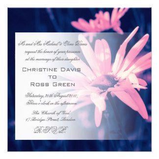 Pink dreamy daisy on blue wedding invitation