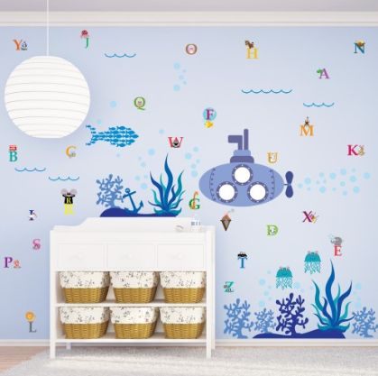 Ocean World Combo ~ This gorgeous Ocean World sticker set has been combined with an alphabet set to give the wall mural an educational slant.  This product can be attached directly to the walls, window, screens and etc.  • It is self-adhesive, water & steam resistant  • Easy to remove without leaving stain • Reusable (you can use it few times) and flexible • High quality sticker £29.99