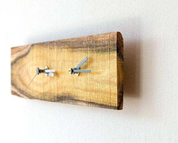 Double Time Clock Modern Wall Clock Salvaged Wood SAPPHO