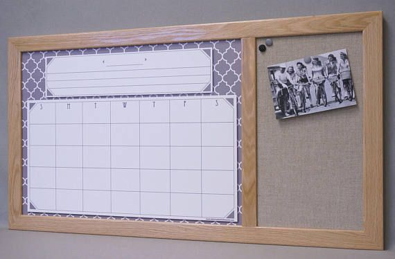 Gray Moroccan Tile Calendar White Board with Burlap Fabric Pin Board - Custom Wood Framed Command Center Dry Erase Board / Bulletin Board