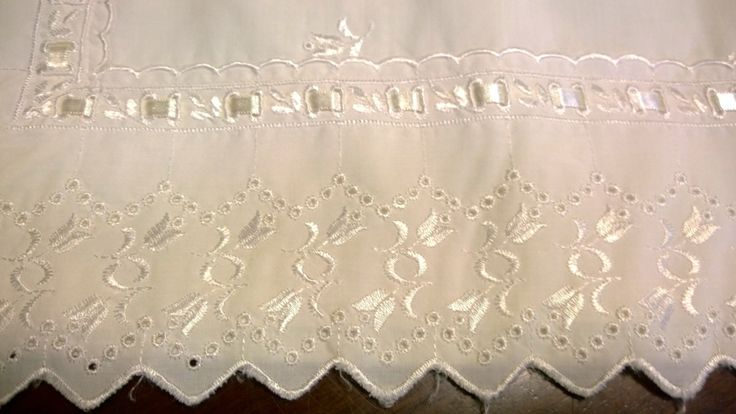 Vintage Pillow Case - Broderie Anglaise, Ribbon Trim, Embroidered by TheBusyTipsyGipsy on Etsy