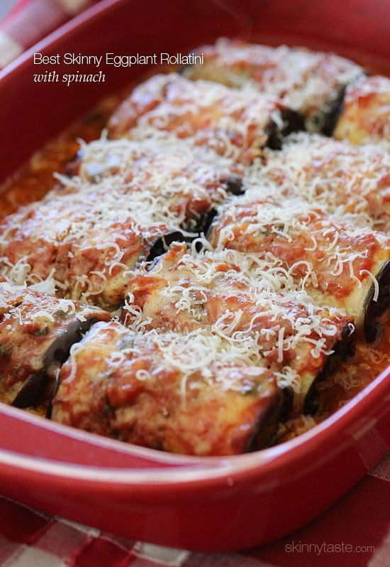 Best Skinny Eggplant Rollatini with Spinach – Skinnytaste; would be fun to make on a weekend after the farmer's market!