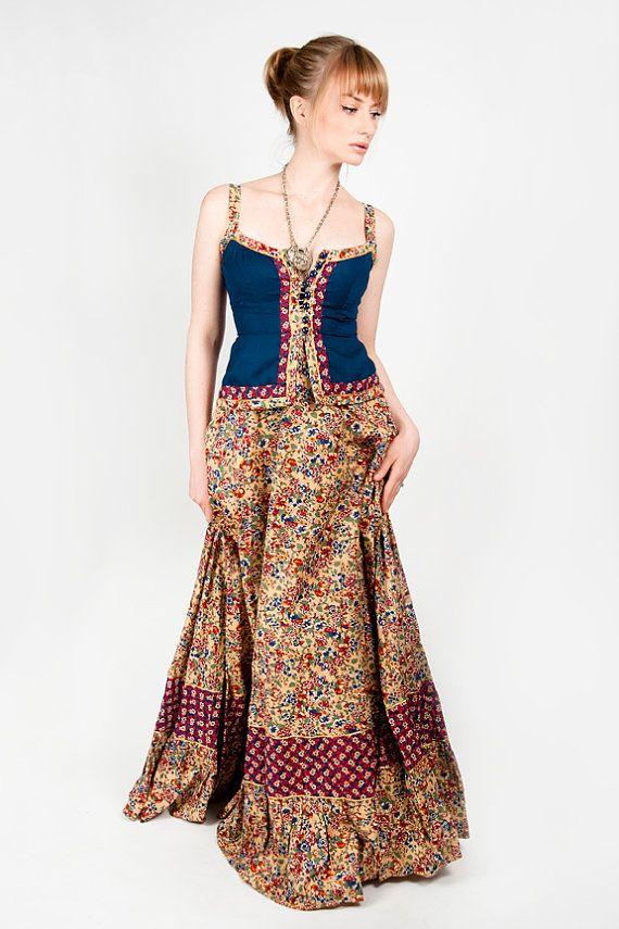 GUNNE SAX DReSS Yellow n blue floral corset long festival renaissance maxi prairie. $145.00, via Etsy.