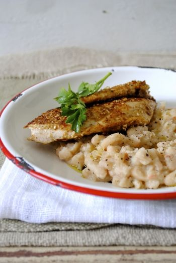 Dukkah Crusted Chicken with White Bean & Olive Oil Mash recipe.