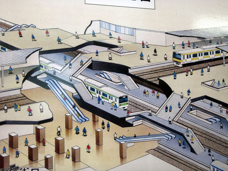 Tokyo Subway Station Diagram (Cut-Away Axonometric)