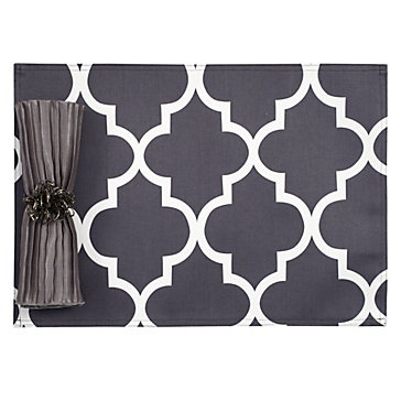 charcoal mimosa placemats. would be cute with a touch of turquoise