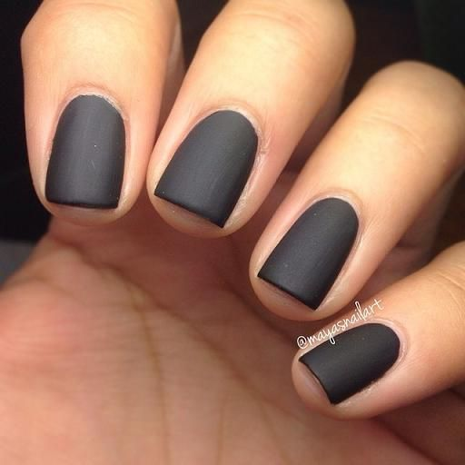 matte black manicure Loving the idea of a matte nail polish and a matte lip. If only I could get mine this neat. #basicnailgoals