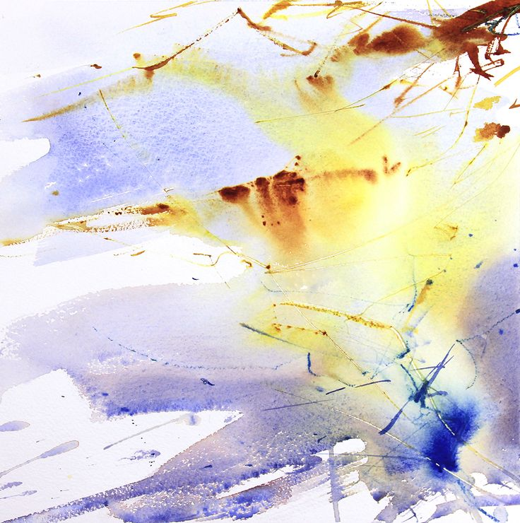Winter Sun over Light Frost expressive abstract watercolour by Adrian Homersham