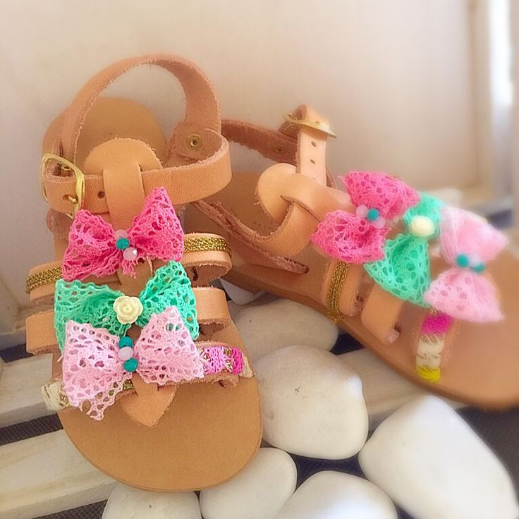 Pink and green girly sandals