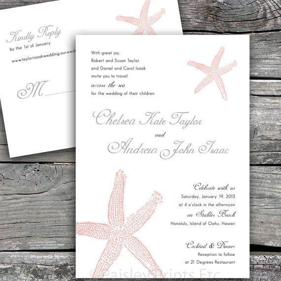 Starfish No.1 Beach Wedding Invitation and by PaisleyPrintsEtc, $35.00