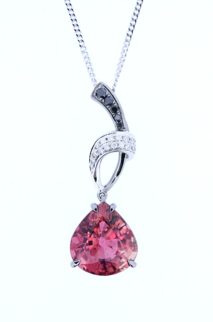 18ct white gold and black rhodium Pink Tourmaline pendant.