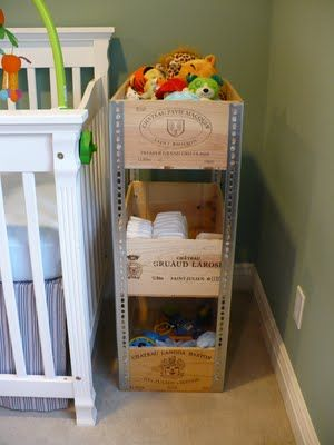 "wine crates and angle iron make tiered shelving - not liking ""wine crates"" used in a nursery, but there are alternatives. Maybe in the living room?"