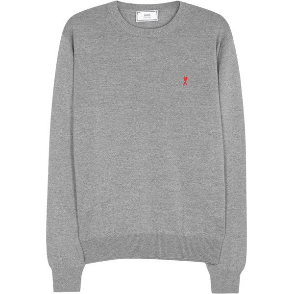 AMI Grey Wool Jumper - Size M ($220) ❤ liked on Polyvore featuring men's fashion, men's clothing, men's sweaters, mens grey sweater, mens wool sweaters, mens woolen sweaters and mens gray sweater