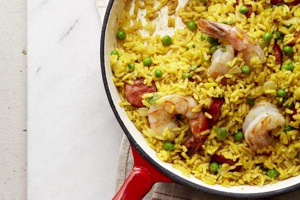 Saffron Brown Rice With Shrimp and Chorizo