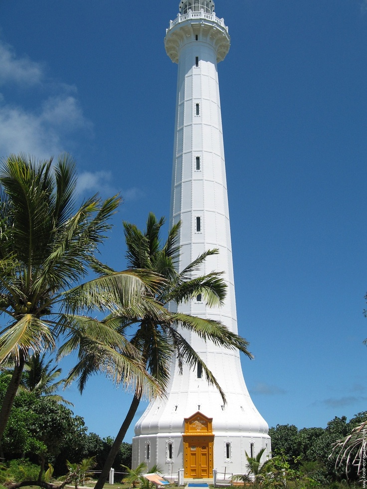 Amedee Lighthouse located on the island Amedee on the coral reef, marine life reserve, off Noumea in New Caledonia.