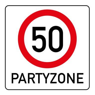 Witzige Einladungskarte zum 50. Geburtstag mit Verkehrsschild Partyzone 50 #50#Verkehrsschild#Partyzone#Geburtstag#Einladung #EinladungGeburtstag.de