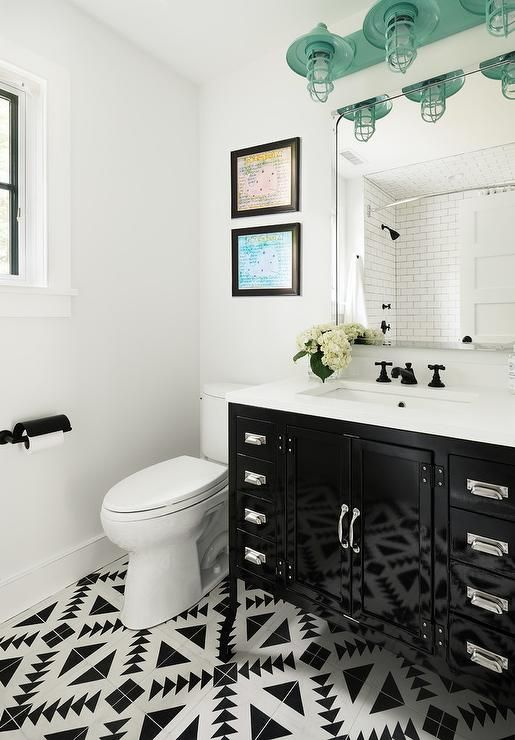 Charming Black And White Bathroom Boasts A Restoration