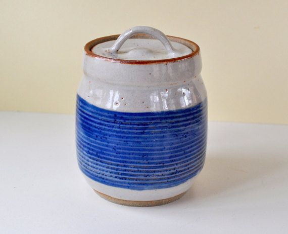Hand Made Pottery Canister Lidded Jar  Stoneware Pottery Lidded Jar Wheel Thrown Pottery Jar and Lid
