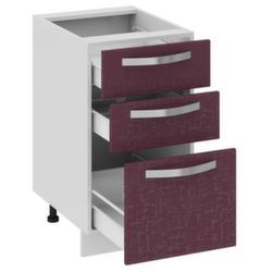 Шкаф нижний с 3-мя ящиками Н3я_72-45_3Я Цвет: Баклажан Кухня Сингапур