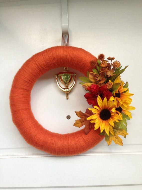 Fall Yarn Wreath With Harvest Sunflower by TheCraftySugarsnip, $25.00
