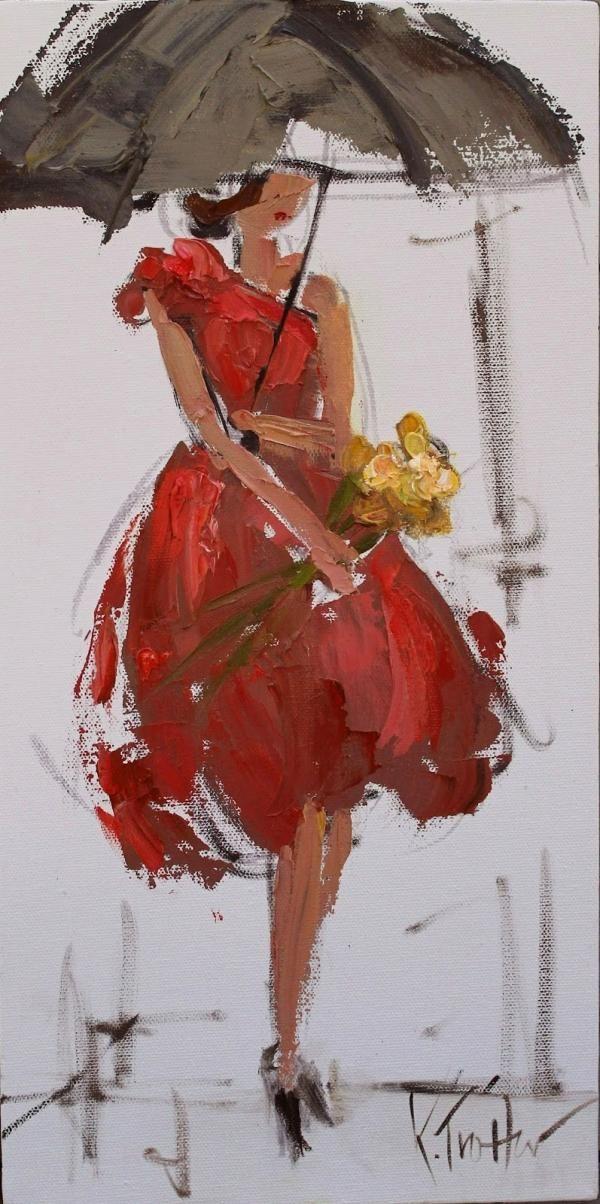 elegante dama bajo el paraguas.