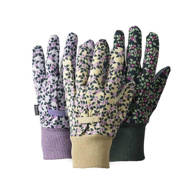 These ever popular multi-purpose house and garden gloves come in a great value triple pack. With a stretchy back design for improved fit and elasticated, comfy cuffs, these gloves in green, lemon and lilac with a floral print make a great all-round glove for light gardening and use around the house.