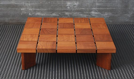 Coffee table, Center table , Living room table made of solid Iroko board / Coffee table in Scandinavian  design style hand made