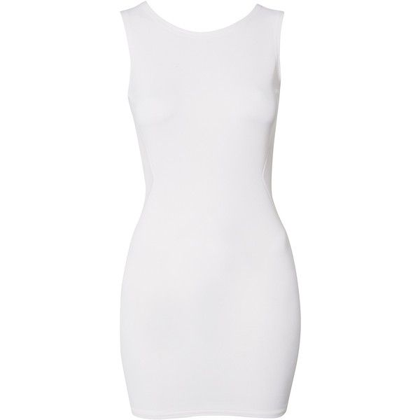 John Zack Mesh Cut Out Back Dress (€37) ❤ liked on Polyvore featuring dresses, vestidos, party dresses, white, womens-fashion, mesh dress, white fitted dress, cutout back dress, tight dresses and fitted dresses