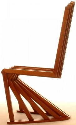 """""""Stripe Chair"""" made of reclaimed mahogany by Glasgow-based Joachim King. Digging the cantilever."""
