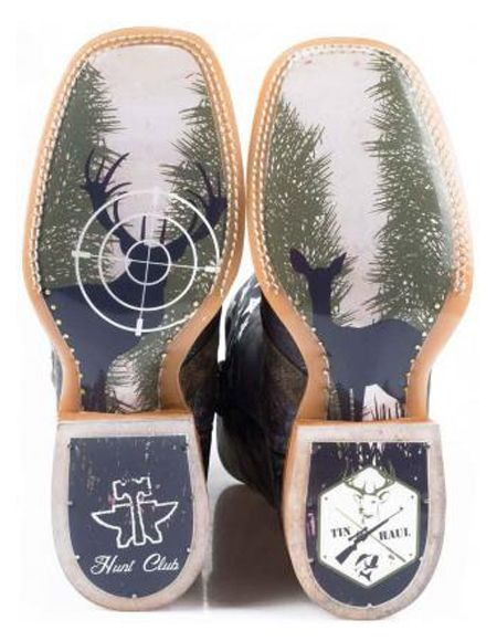 Tin Haul Mens Camo Flag Hunt Club Western Boot