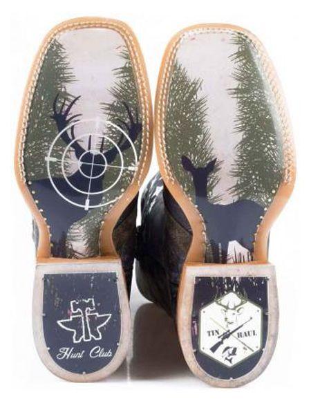 Tin Haul Mens Camo Flag Hunt Club Western Boot