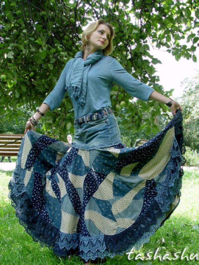 Апгрейд старых джинсов, или, возможно, это бохо (часть вторая: сборка юбки и ремень). - Ярмарка Мастеров - ручная работа, handmade