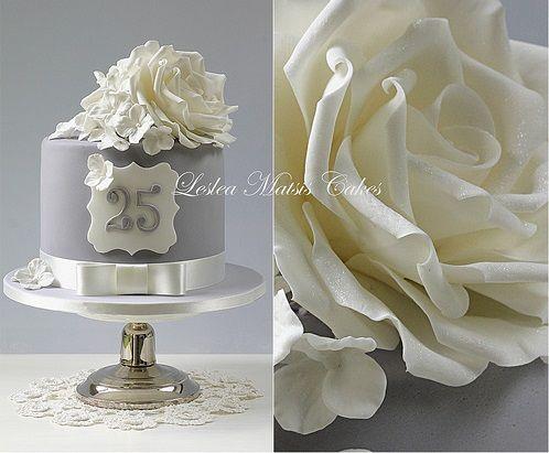 Silver Anniversary Cake 25th Anniversary Cake By Leslea Matsis Grey Silver