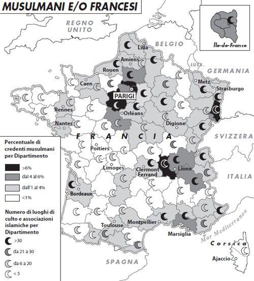 """""""Musulmani e/o francesi"""", una carta di Francesca La Barbera dall'articolo di Giuseppe Sacco """"La Francia e i suoi figliastri"""", sull'islam transalpino."""