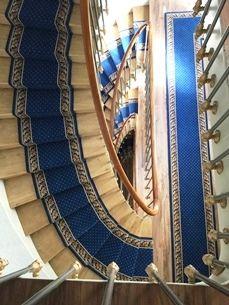 Tapis d'escalier - Hôtel du Printemps - 75008 Paris - Motif Pindots Petits points avec bordures feuilles d'acanthe - Coloris Bleu et Or