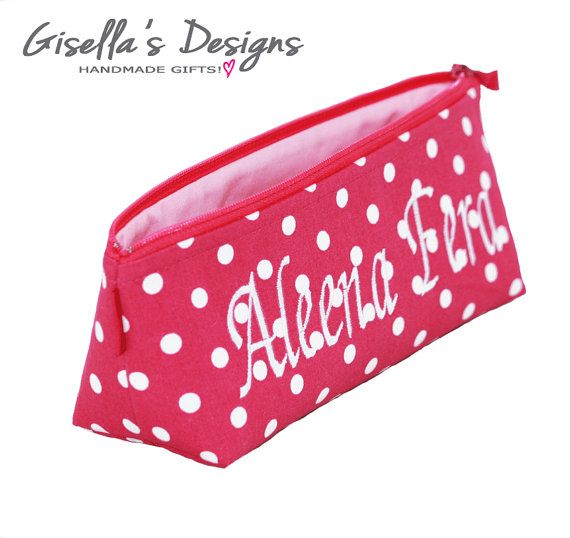 Hot Pink polka dot Personalized Pencil case, Custom made Pencil Pouch, Handmade Brush holder Choose you favorite Designer Fabrics.