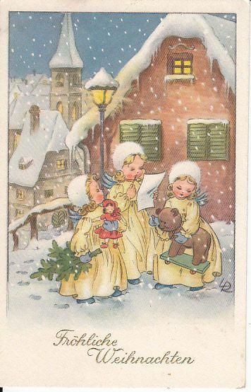 """AK ENGEL mit Teddybär und Puppe, Christbaum """"LR"""", Weihnachten"""