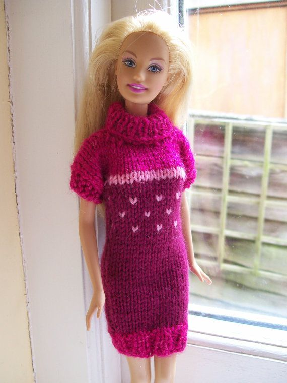 Knitting Clothes For Barbie Dolls : Barbie clothes pink turtle neck dress knitting